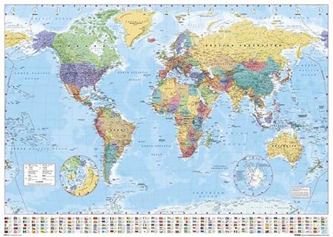 Cartina Italia In Inglese.1art1 Empire 215833 Mappa Politica Del Mondo In Lingua Inglese 91 X 61 Cm Amazon It Casa E Cucina