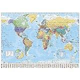 1art1 Empire 215833 Mappa politica del mondo in lingua inglese, 91 x 61 cm