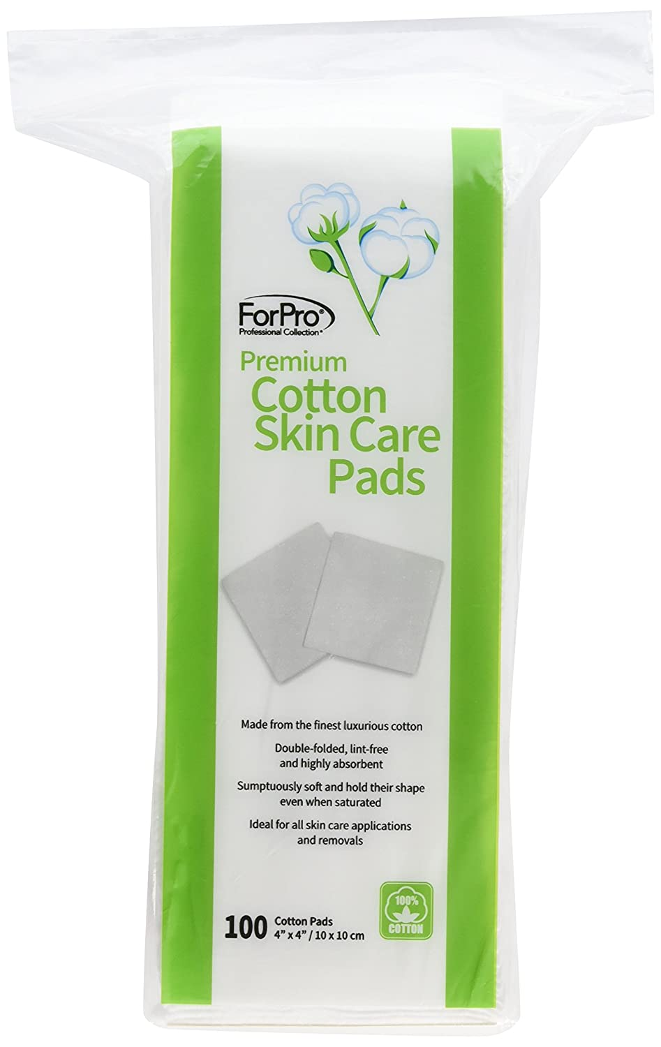ForPro Premium 100% Cotton 4x4 Skin Care Pads, 100 Count TNG Worldwide