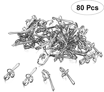OOTSR 50 Set Curtain Glider Hooks Curtain Hooks for Window Curtain Track Glider-Includes 50 Pcs White Curtain Glider Hooks and 50 Pcs Silver Metal Drapery Pin Hooks