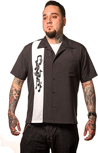 Steady Clothing Hombre Vintage Bowling camisa – Music Note Retro Bolos Camiseta: Amazon.es: Ropa y accesorios
