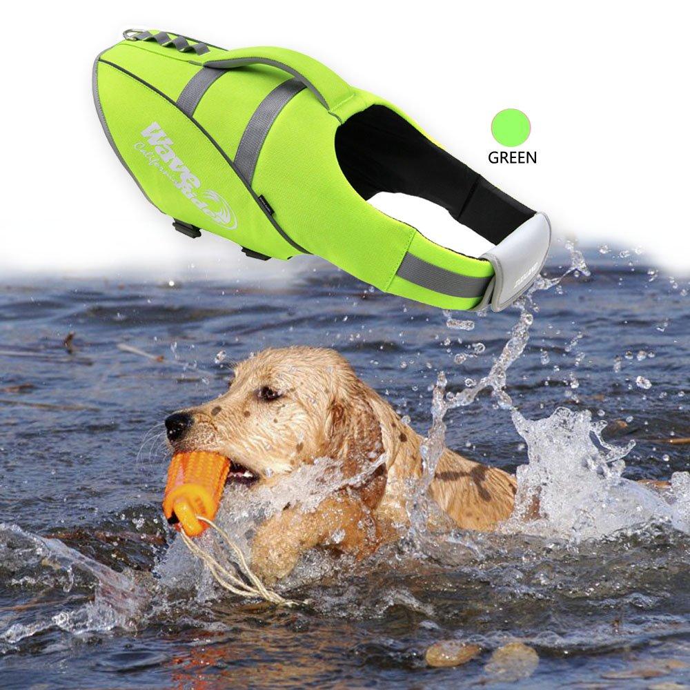 BOCHO Wave Rider's Reflective Dog LifeJacket, Super Buoyancy and EVA Lining ,Adjustable Dog Safety Vest. (X-Large, Green)