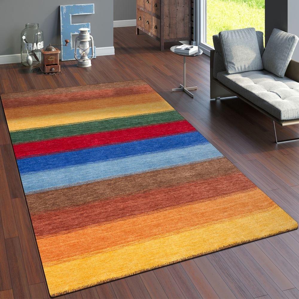 Paco Home Teppich Handgewebt Gabbeh Hochwertig 100% Wolle Meliert Balken Multicolor, Grösse 200x300 cm