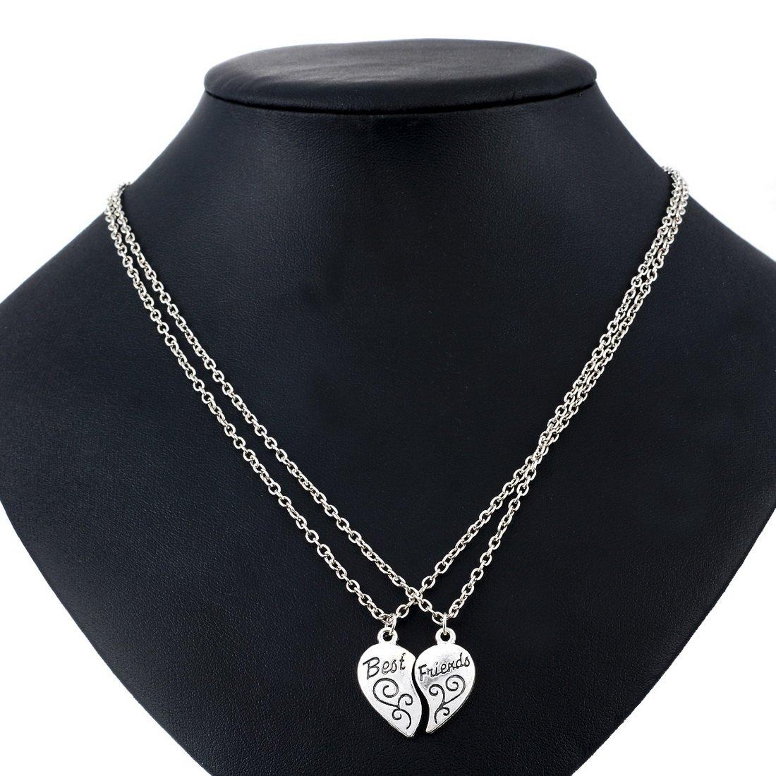 MJARTORIA Split Heart Pendant Necklace Set of 2 4