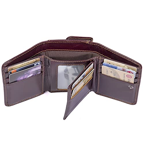 87d8896a51a4 Augus Trifold Leather Wallet for Man RFID Blocking Wallet with Double ID  Window