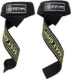 Gewichtheber Zughilfen von Elite Body Squad mit Neopren gepolsterten Handgelenkstützen - Doppelnähte und 100% Baumwollgewebe mit Gummi Klebepads für 'MAX GRIP' - über 60 cm lang