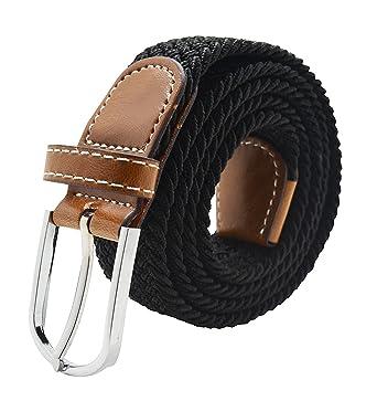 Unisexe Tour de cou Meta-U tressé élastique en caoutchouc corde de ceinture  - Noir 871f658b5e3
