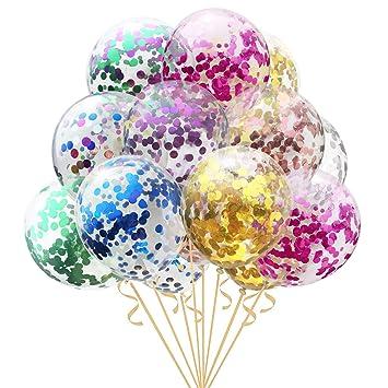 Amazon.com: 16 globos de confeti multicolor para bodas ...