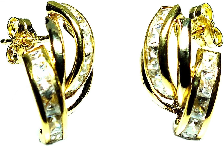 Pendientes oro 18k, mujer, modelo bandas de oro y banda de piedras con cierre de presión de alta calidad.