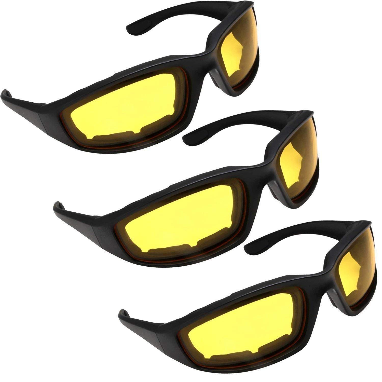 3 Pairs Kickback Foam Padded Motorcycle Sunglasses Global Vision Eyewear KICKBACK CL/SM/YT