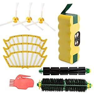 efluky 3500mAh Ni-MH Replacement Roomba Battery + Replacement Accessory Part Kit for iRobot Roomba 500 Series 500 510 520 530 531 535 536 540 545 552 560 570 580 - a Set of 10