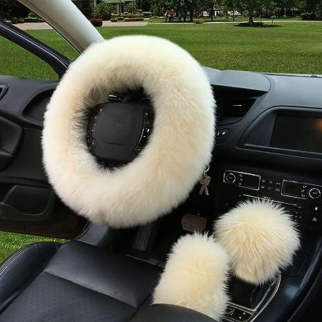 amazon com bonaweite car steering wheel cover gear shift handbrakebonaweite car steering wheel cover gear shift handbrake fuzzy cover 1 set 3 pcs multi
