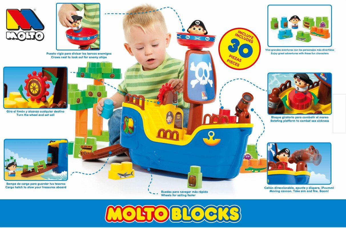 Amazon.com: Small World Toys Ryans Room Educational-Molto Pirate Ship w/ 30 Blocks Building (2 Piece): Toys & Games