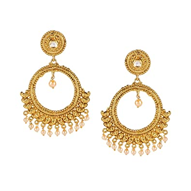 6e23d3dd9 Efulgenz Indian Bollywood 14K Gold Plated Crystal Kundan Pearl Tassel  Wedding Chanbali Dangle Big Earrings Jewelry Set: Amazon.ca: Jewelry