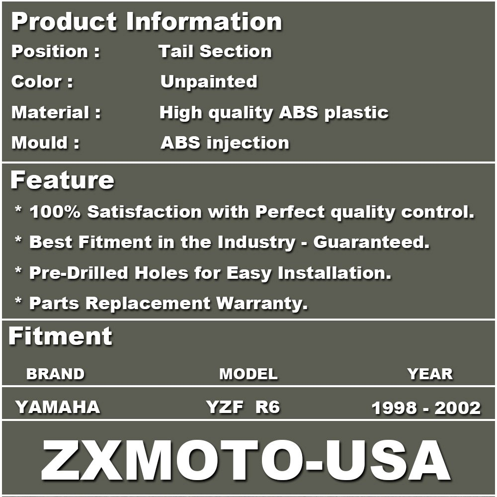 ZXMOTO Unpainted Tail Section Fairing for YAMAHA YZF R6 Individual Motorcycle Fairing 1998-2002