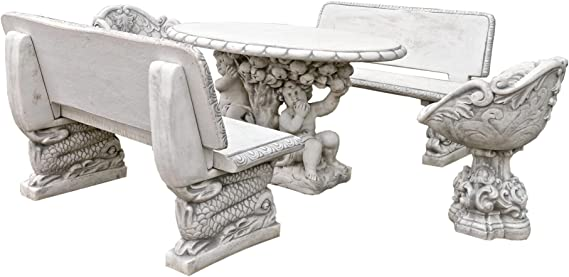 Juego de muebles de jardín de diseño antiguo, 2 bancos, 2 sillones, 1 mesa de piedra, banco de piedra, banco de jardín, banco de piedra, sillón de piedra, mesa de piedra: Amazon.es: Hogar