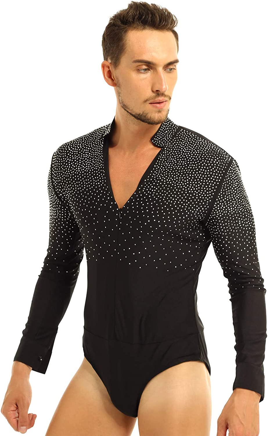 Men Long Sleeve Ballroom Dance Shirt Sequin V Neck Latin Leotard Bodysuit Romper