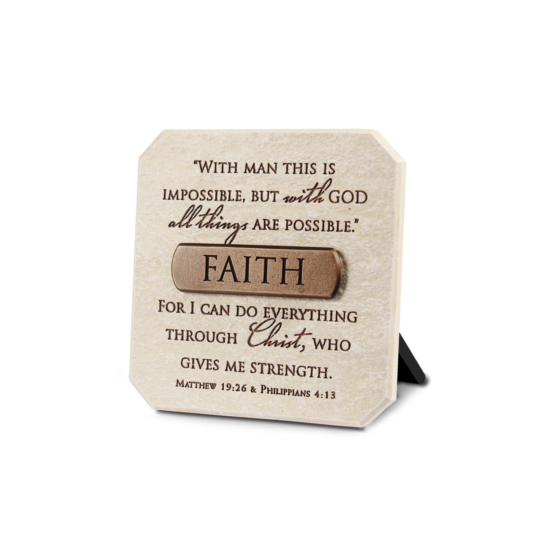 Lighthouse Christian Products Faith Title Bar Plaque, 3 3/4 x 3 3/4'', Bronze