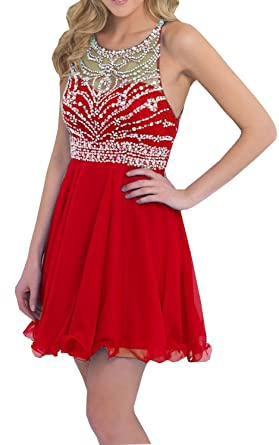 Ovitina Short Prom Gown Cocktaill Party Dresses Chiffon Homecoming Dresses Red us2