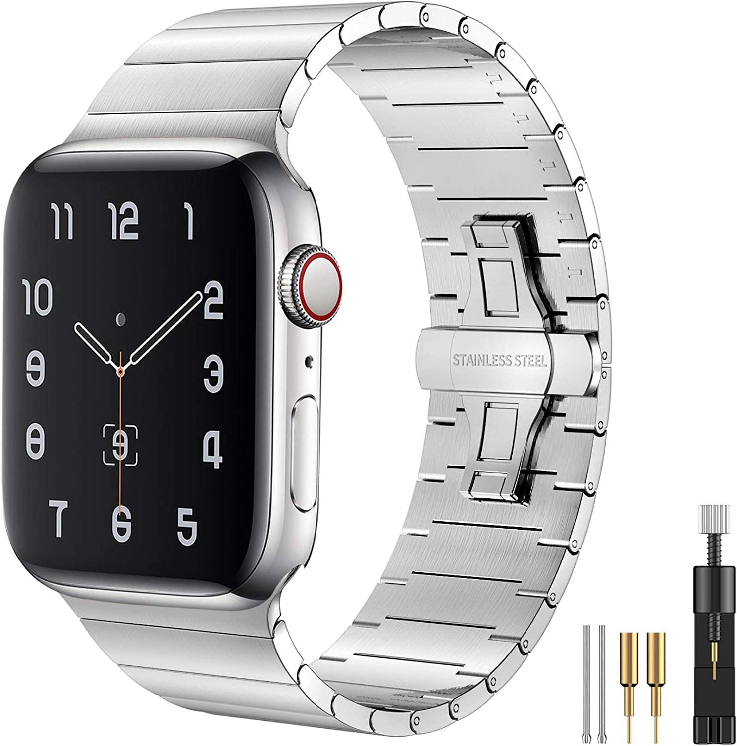 Fitlink Compatible with Apple Watch Bands 42mm 44mm 38mm 40mm, Upgraded Version Stainless Steel Metal Watch Band for Apple Watch Series 6/SE Apple Watch Series 5/4/3/2/1(Silver,38/40mm)