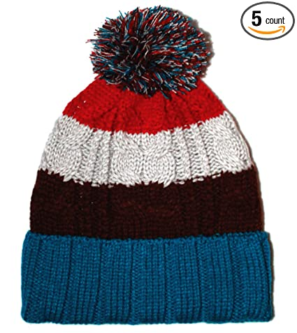 Image Unavailable. Image not available for. Color  City Hunter Ck1050 Bold  Stripe Pom Pom Knit Hat - Royal Blue 8d7f144947f