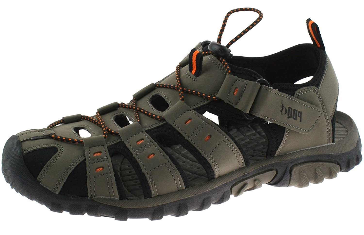 a8c8bdfd2291 PDQ Mens Gents Elastic Toggle   Velcro Fastening Sports Trail Walking  Closed Toe Comfy Sturdy Sandals  Amazon.co.uk  Shoes   Bags