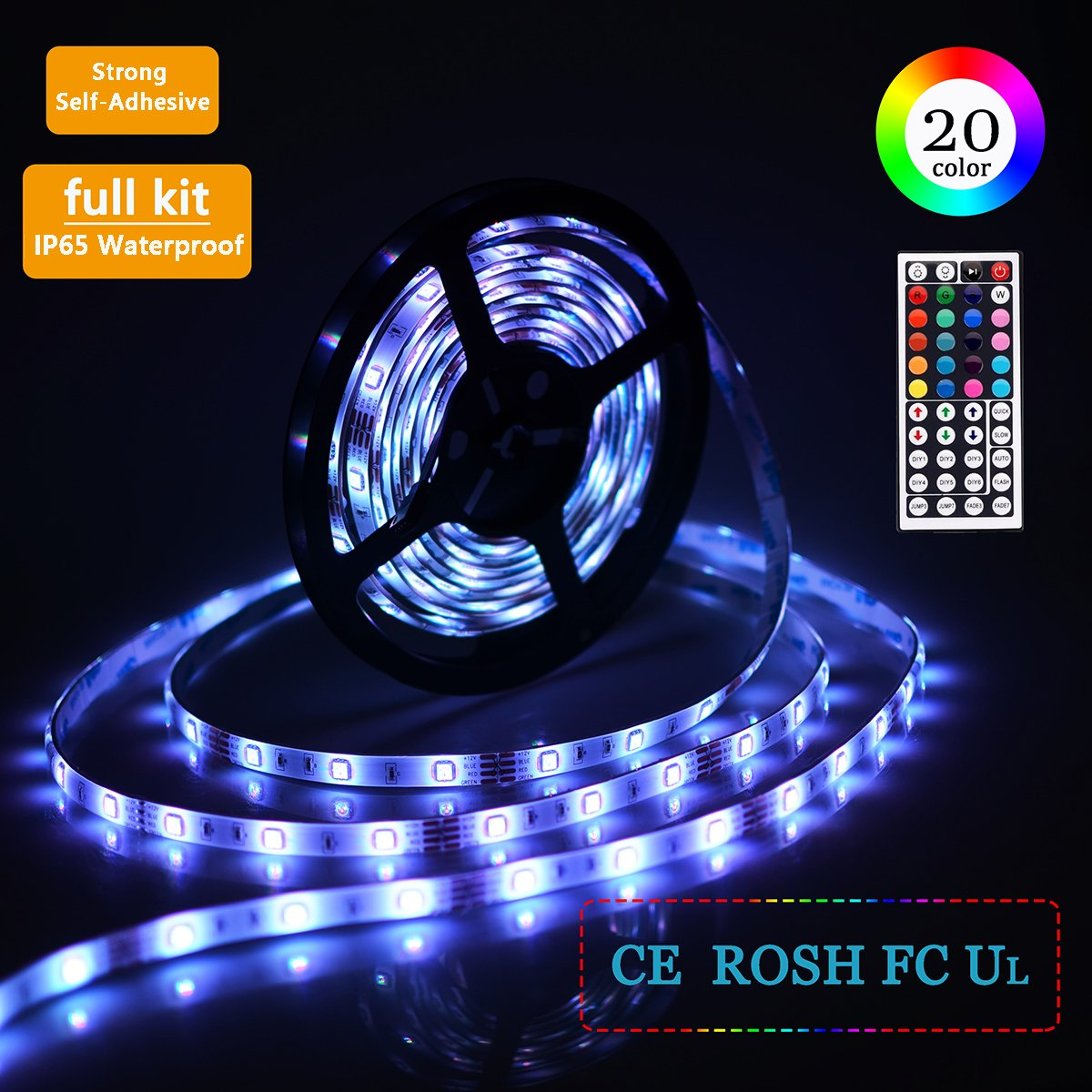 Simfonio RGB LED Strip Lights with Remote - LED Light Strip 5M Waterproof 150LEDs 5050SMD Led Light Strips - LED Lights Strip Kit with