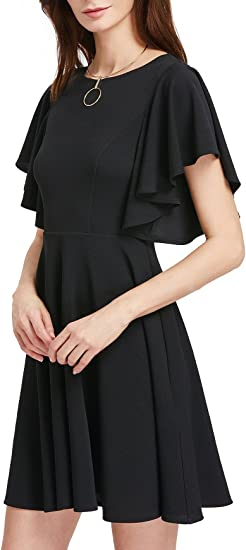 Women's Stretchy A Line Swing Flared Skater Cocktail Party Dress
