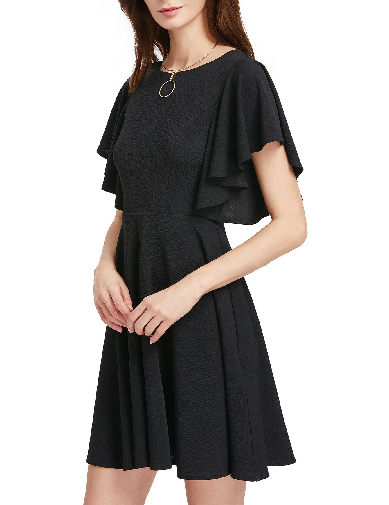 ROMWE Women's Stretchy A Line Swing Flared Skater Cocktail Party Dress Black L by Romwe (Image #4)