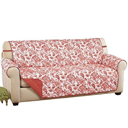 Leafy Scroll Reversible Florence Quilted Furniture Protector Cover With  Elastic Straps, Paprika, Sofa