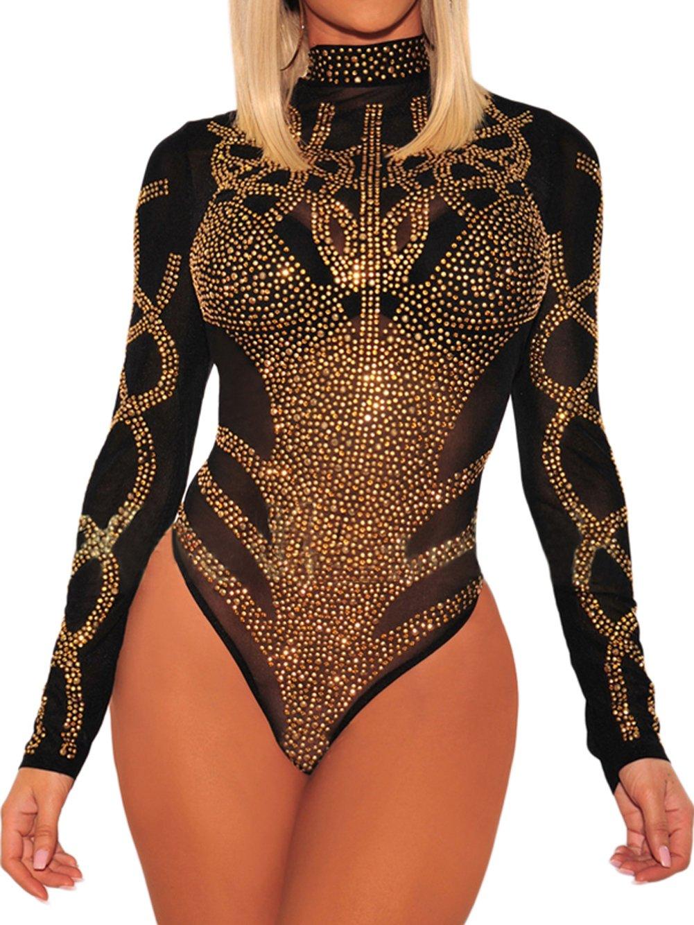Shawhuwa Women's Mock Neck Long Sleeve Stretchy Jumpsuit Bodysuit Tops Black Gold L