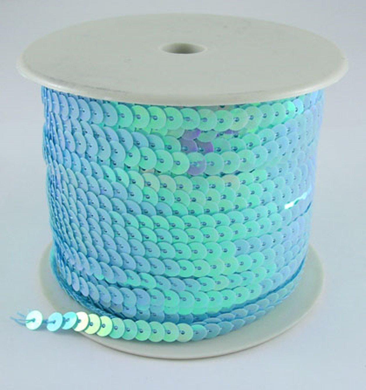 Paillettes nastro azzurro 6mm di larghezza e 91meter fai da te, colore platino Bastel Express 4250983909845
