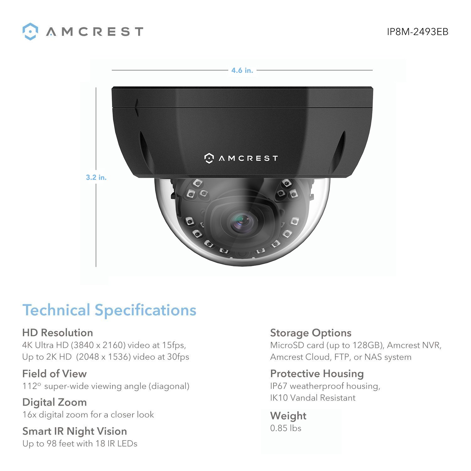 Amcrest 4K Outdoor POE IP Camera, UltraHD 8MP Security Camera, 3840x2160P  Resolution, IK10 Vandal Resistant Dome, 2 8mm Lens, IP67 Weatherproof