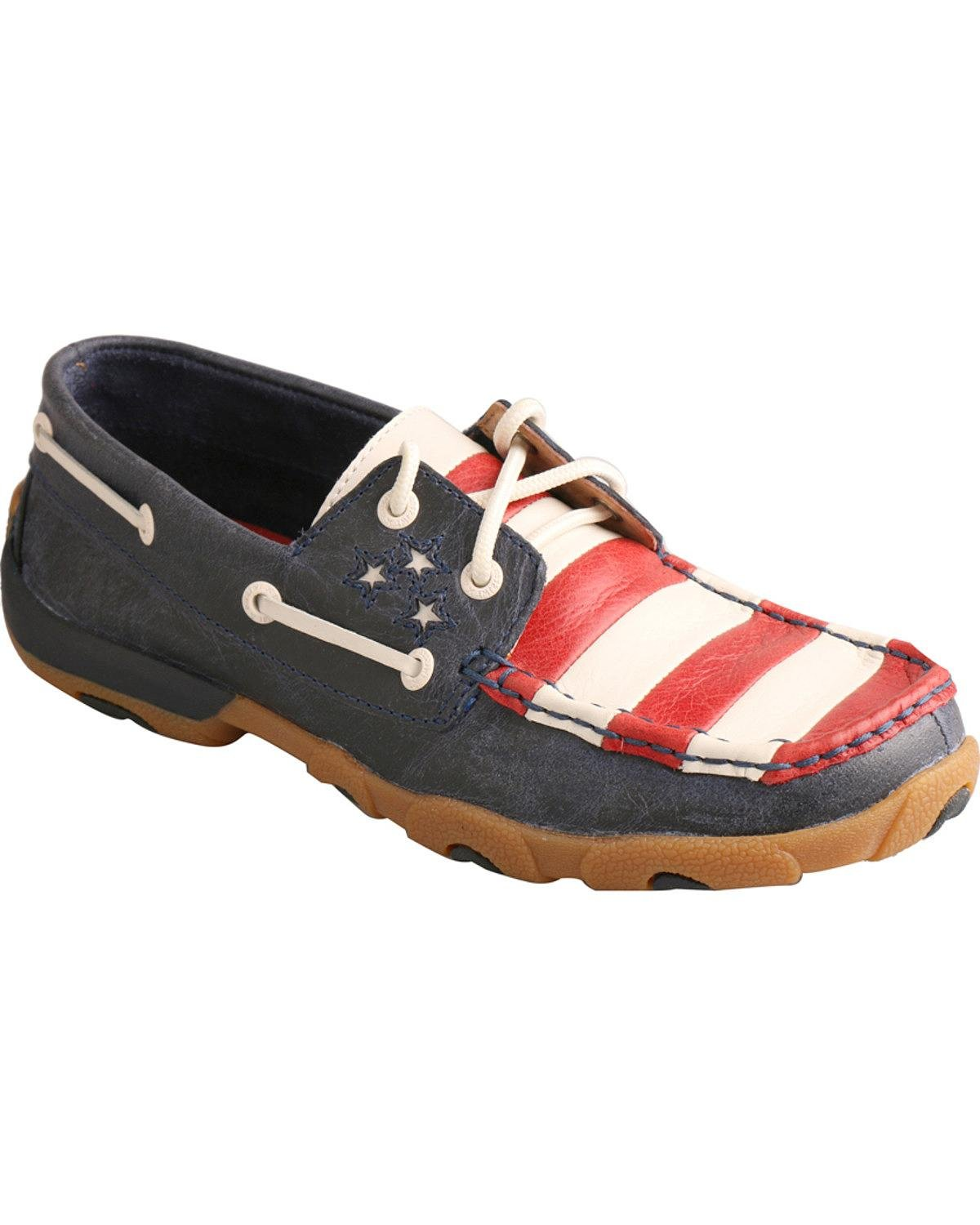 Twisted X Casual shoes Womens Driving Mocs Stars 8 M bluee WDM0017