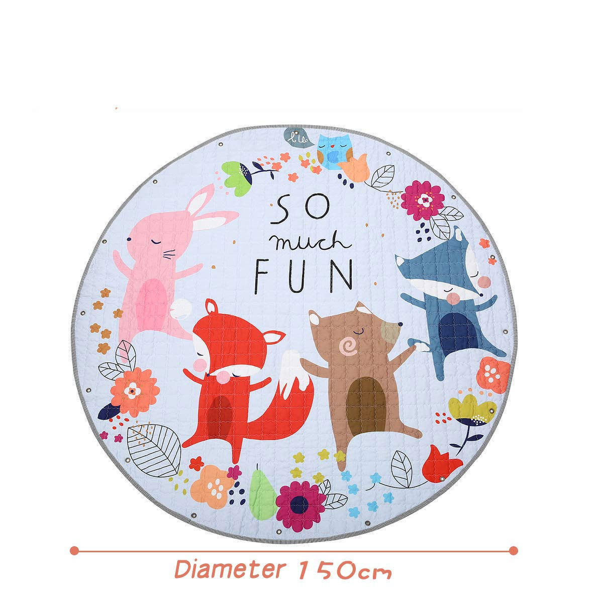 Cartoon Fox Cotton Baby Kids Gym Play Mat Crawling Blanket Portable Round Carpet Children Toys Playmat Storage Bag 150cm Baby Gyms & Playmats