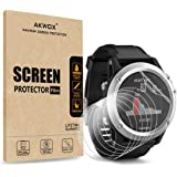 (Pack of 6) Screen Protector for Garmin Fenix 3 HR, Akwox [HD Clear][Anti-Glare][Anti-Bubble] Full Coverage TPU Screen…