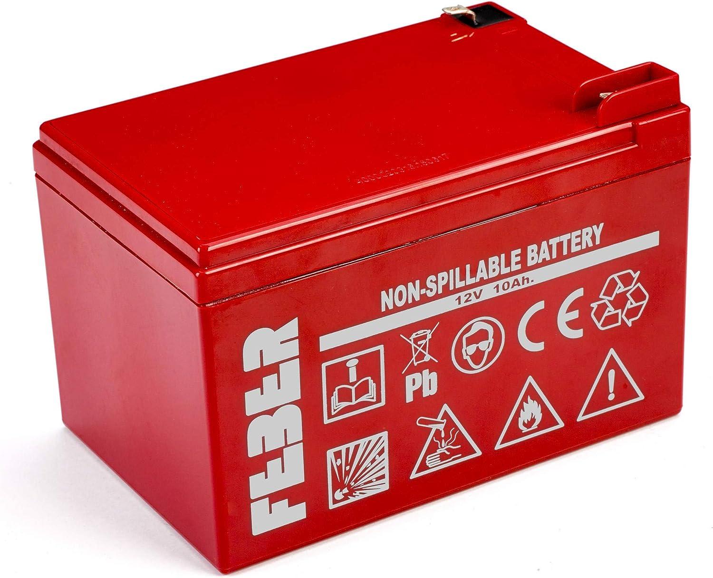 FEBER- Batería/Pila recargable, 10000 mAh, 12 V, Color rojo (Famosa 800003106)