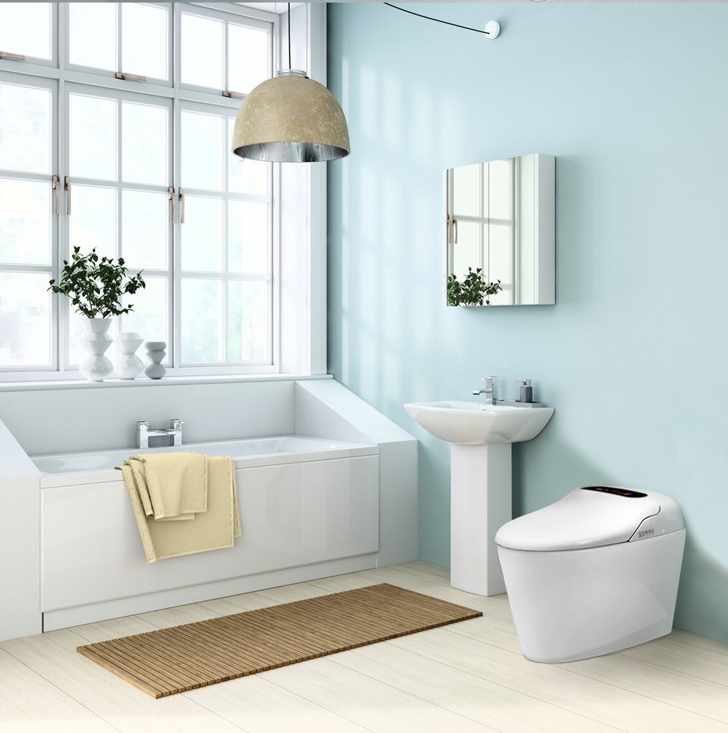 Euroto Luxury Smart Toilet One Piece Toilet with Soft Closing Heated Seat European Design Elongated for Bathroom Toilet Bowls, Toilets, and Toilet Seats by EUROTO (Image #8)