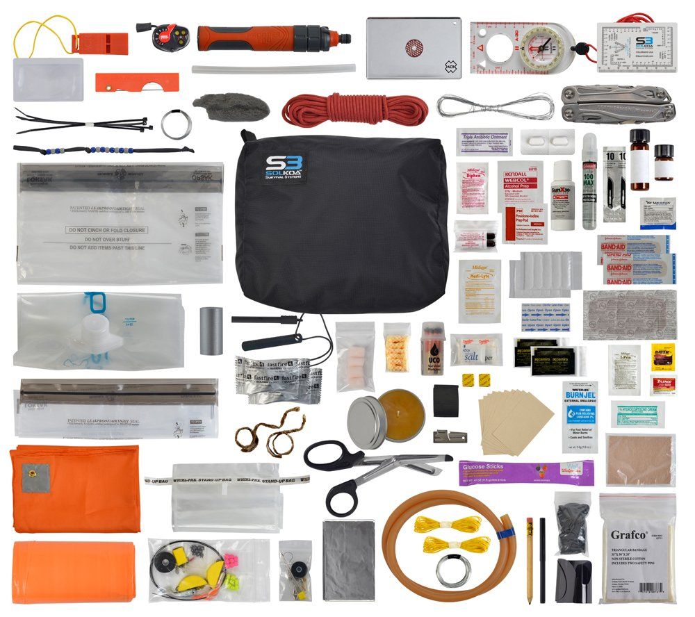 Professional Grade Comprehensive Survival Kit (BLACK) SOLKOA Survival Systems