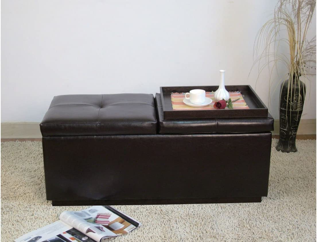 Acme 0 Marin Bycast Storage Ottoman with Two Trays