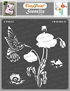 CrafTreat Layered Poppy Flower Stencils for painting on Wood, Canvas, Paper, Fabric, Wall and Tile - Poppy Flower Stencil - 6x6 Inches - Reusable DIY Art and Craft Stencils for Painting Flowers Garden