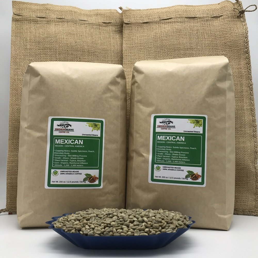 25 LBS – MEXICAN CHIAPAS (includes 2 FREE BURLAP BAGS) Specialty-Grade, CURRENT-CROP Green Unroasted Coffee Beans – 100% Organic, Arabica Shade-Grown, Naturally Cultivated, Process: Washed & Sundried