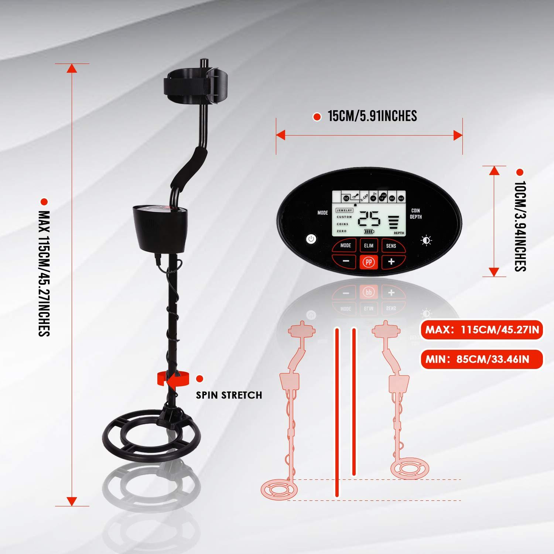 INTEY Metal Detector Professionale con Tocca Il Pannello LCD e Retroilluminazione 4 modalit/à Bobina Impermeabile 240mm per Rega modalit/à di Gioielli e Monete Unico e Pinpoint