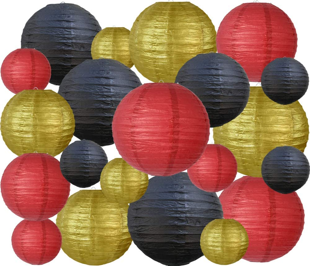 21 Pcs Black Gold Red Round Paper Lanterns Decorative Hanging Chinese Japanese Paper Lanterns Lamp for Birthday Wedding Baby Bridal Shower Home Decor Party Decoration