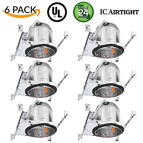 Sunco lighting 6 pack 6 new construction led can air tight ic sunco lighting 6 pack 6quot new construction led can air tight ic housing led recessed aloadofball Image collections