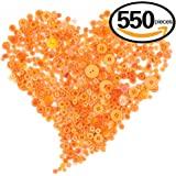 Swpeet 550 Pieces Assorted Sizes Resin Buttons 2 and 4 Holes Round Craft Buttons for Sewing DIY Crafts Children's Manual Button Painting(Orange)