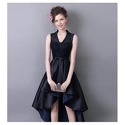 70030a4d9db26 カラードレス 黒 カクテルドレス ロングドレス 前ミニ イブニングドレス ロング パーティードレス 演奏会