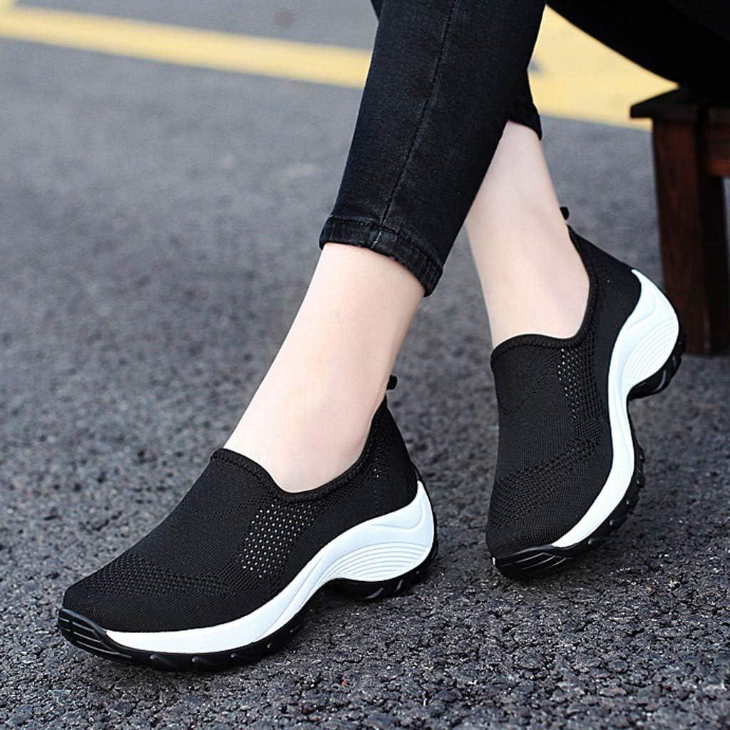 DEELIN Femme Plateforme Non-Slip Chaussures De Mode Respirant Maille Sneaker Chaussures De Course Bloc de Couleur Casual Sauvage Sport Chaussures Slip-on Noir