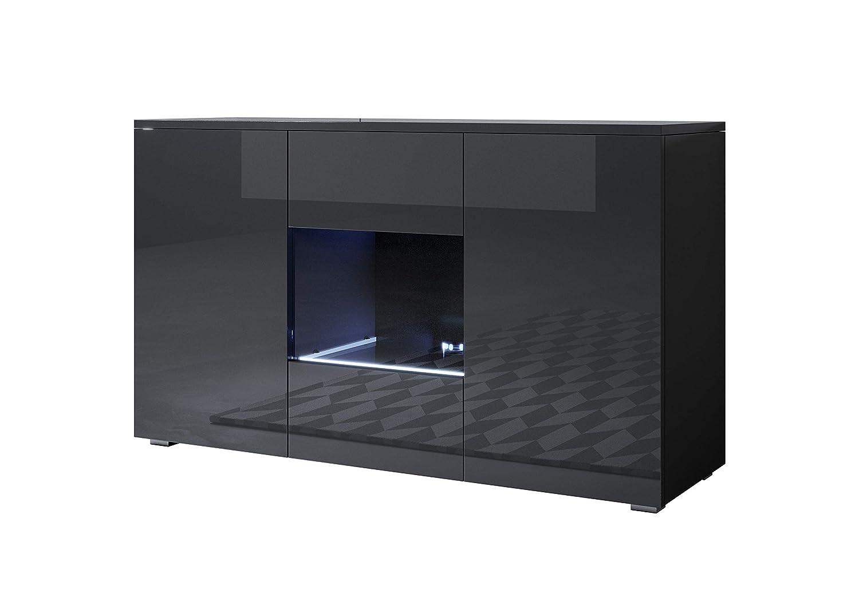 muebles bonitos Letti e Mobili - Credenza Modello Luke A2 con LED (120x72cm) Colore Nero con Piedini Standard