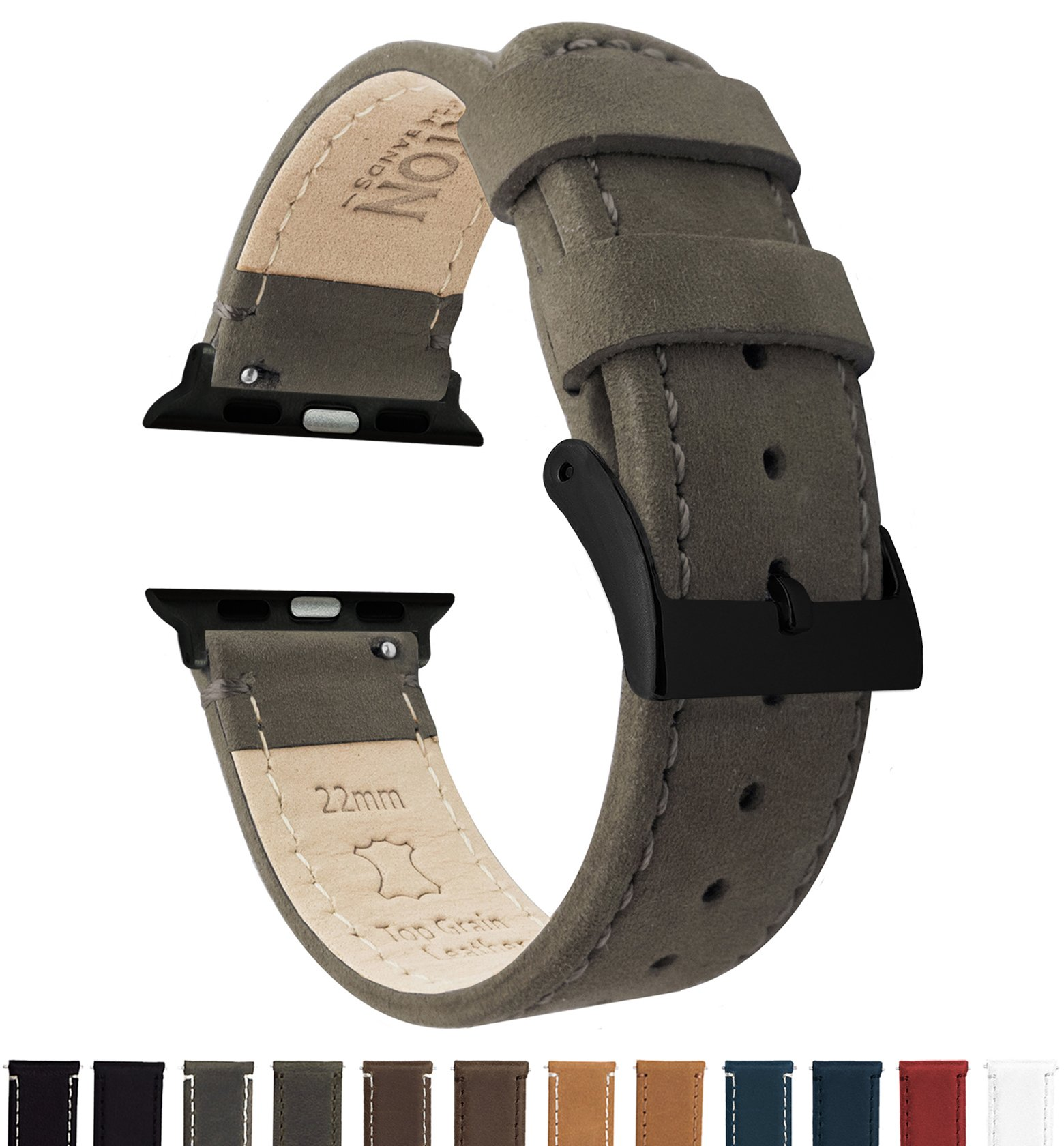 BARTON Leather Watch Bands for Apple Watch - Black Hardware for 42mm & 38mm -Espresso Leather & Stitching